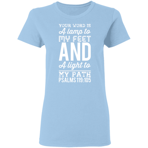 "Bible Verse Ladies' 5.3 oz. T-Shirt - ""Psalm 119:105"" Design 3 (White Font) - Meditate Healing Christian Store"