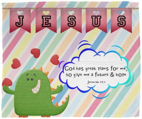 Hope Inspiring Kids Snuggly Blanket - God Has Great Plans For Me ~Jeremiah 29:11~ (Design: Dinosaur)