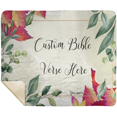 Customizable Artistic Minimalist Bible Verse Premium Mink Sherpa Blanket With Your Signature (Design: Rectangle Garland 3)