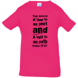 "Bible Verse Infant Jersey T-Shirt - ""Psalm 119:105"" Design 6 (Black Font) - Meditate Healing Christian Store"