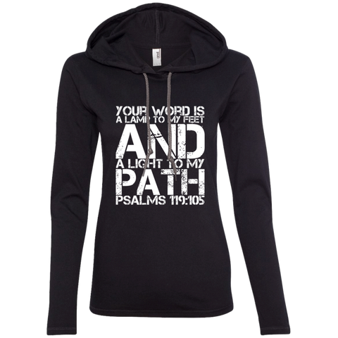 "Bible Verse Ladies' Long Sleeve T-Shirt Hoodie - ""Psalm 119:105"" Design 7 (White Font) - Meditate Healing Christian Store"
