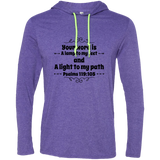 "Bible Verse Men Long Sleeve T-Shirt Hoodie - ""Psalm 119:105"" Design 1 (Black Font) - Meditate Healing Christian Store"