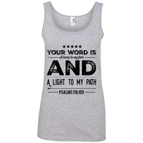 "Bible Verses Ladies' 100% Ringspun Cotton Tank Top - ""Psalm 119:105"" Design 16 (Black Font) - Meditate Healing Christian Store"