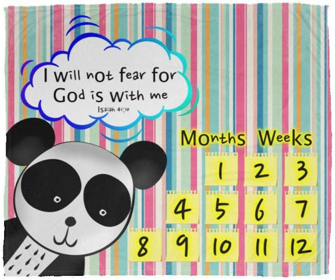 Cozy Plush Baby Milestone Blanket - God Is With Me ~Isaiah 41:10~ (Design: Panda 1)