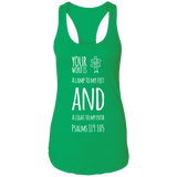"Bible Verse Ladies Ideal Racerback Tank - ""Psalm 119:105"" Design 19 (White Font) - Meditate Healing Christian Store"