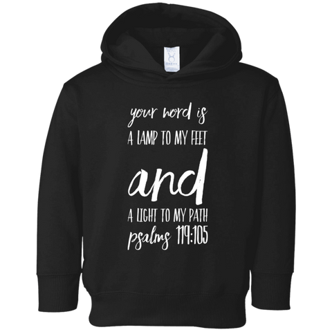 "Bible Verse Toddler Fleece Hoodie - ""Psalm 119:105"" Design 9 - Meditate Healing Christian Store"