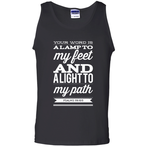 "Bible Verse Men 100% Cotton Tank Top - ""Psalm 119:105"" Design 15 (White Font) - Meditate Healing Christian Store"