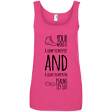 "Bible Verses Ladies' 100% Ringspun Cotton Tank Top - ""Psalm 119:105"" Design 20 (Black Font) - Meditate Healing Christian Store"