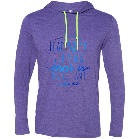 "Bible Verse Men Long Sleeve T-Shirt Hoodie - ""Psalm 61:2"" Design 7 - Meditate Healing Christian Store"