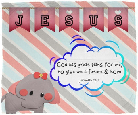 Hope Inspiring Kids Snuggly Blanket - God Has Great Plans For Me ~Jeremiah 29:11~ (Design: Elephant)
