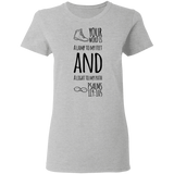 "Bible Verse Ladies' 5.3 oz. T-Shirt - ""Psalm 119:105"" Design 20 (Black Font) - Meditate Healing Christian Store"