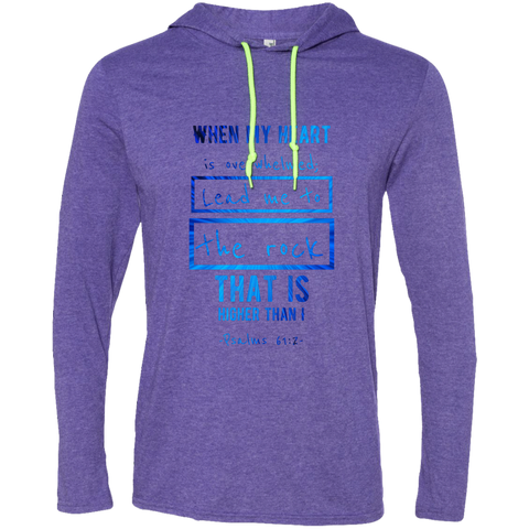 "Bible Verse Men Long Sleeve T-Shirt Hoodie - ""Psalm 61:2"" Design 5 - Meditate Healing Christian Store"