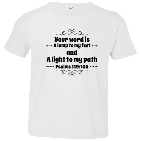 "Bible Verse Toddler Jersey T-Shirt - ""Psalm 119:105"" Design 1 (Black Font) - Meditate Healing Christian Store"