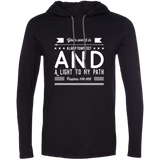 "Bible Verse Men Long Sleeve T-Shirt Hoodie - ""Psalm 119:105"" Design 14 (White Font) - Meditate Healing Christian Store"