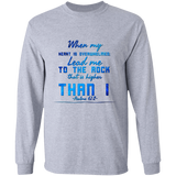 "Bible Verse Long Sleeve Ultra Cotton T-Shirt - ""Psalm 61:2"" Design 6 - Meditate Healing Christian Store"