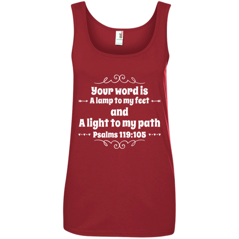 "Bible Verse Ladies' 100% Ringspun Cotton Tank Top - ""Psalm 119:105"" Design 1 (White Font) - Meditate Healing Christian Store"