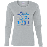 "Bible Verse Ladies' Cotton Long Sleeve T-Shirt - ""Psalm 61-2"" Design 6 - Meditate Healing Christian Store"