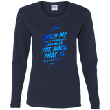 "Bible Verse Ladies' Cotton Long Sleeve T-Shirt - ""Psalm 61:2"" Design 14 - Meditate Healing Christian Store"