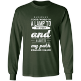 "Bible Verse Long Shirt Ultra Cotton T-Shirt - ""Psalm 119:105"" Design 17 (White Font) - Meditate Healing Christian Store"