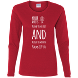"Bible Verse Ladies' Cotton Long Sleeve T-Shirt - ""Psalm 119:105"" Design 19 (White Font) - Meditate Healing Christian Store"