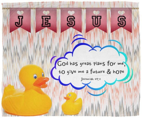 Hope Inspiring Kids Snuggly Blanket - God Has Great Plans For Me ~Jeremiah 29:11~ (Design: Ducks)