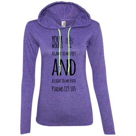 "Bible Verse Ladies' Long Sleeve T-Shirt Hoodie - ""Psalm 119:105"" Design 19 (Black Font) - Meditate Healing Christian Store"