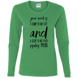 "Bible Verse Ladies' Cotton Long Sleeve T-Shirt - ""Psalm 119:105"" Design 9 (Black Font) - Meditate Healing Christian Store"
