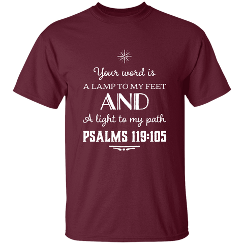 "Bible Verse Men 5.3 oz. T-Shirt - ""Psalm 119:105"" Design 5 (White Font) - Meditate Healing Christian Store"