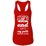 "Bible Verse Ladies Ideal Racerback Tank - ""Psalm 119:105"" Design 17 (White Font) - Meditate Healing Christian Store"
