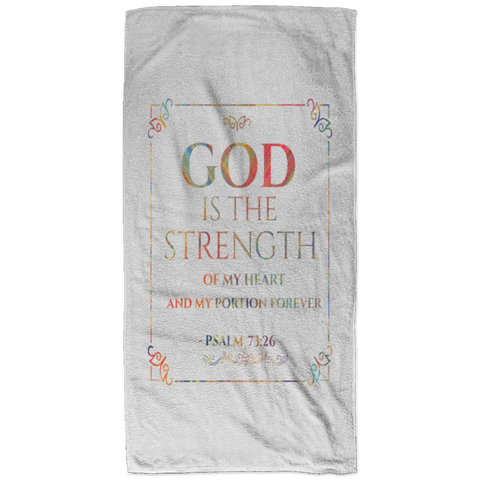 Bible Verses Bath Towel 32x64 - Psalm 73:26 (Design 10) - Meditate Healing Christian Store