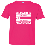 "Bible Verse Toddler Jersey T-Shirt - ""Psalm 119:105"" Design 21 (White Font) - Meditate Healing Christian Store"