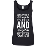"Bible Verse Ladies' 100% Ringspun Cotton Tank Top - ""Psalm 119:105"" Design 3 (White Font) - Meditate Healing Christian Store"