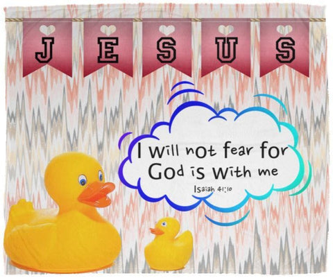 Hope Inspiring Kids Snuggly Blanket - God Is With Me ~Isaiah 41:10~ (Design: Ducks)