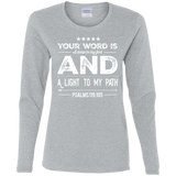 "Bible Verse Ladies' Cotton Long Sleeve T-Shirt - ""Psalm 119:105"" Design 16 (White Font) - Meditate Healing Christian Store"