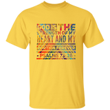"Bible Verse Men 5.3 oz. T-Shirt - ""Psalm 73:26"" Design 5 - Meditate Healing Christian Store"