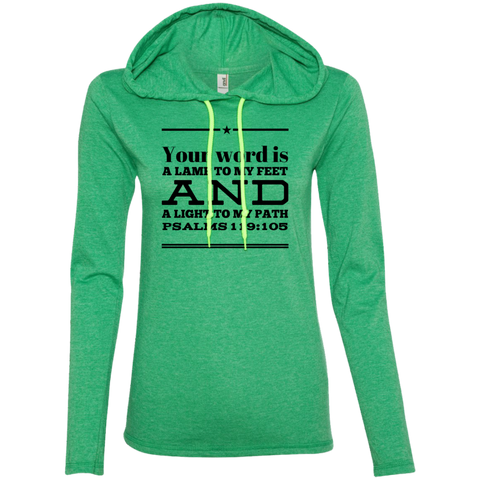 "Bible Verse Ladies' Long Sleeve T-Shirt Hoodie - ""Psalm 119:105"" Design 10 (Black Font) - Meditate Healing Christian Store"