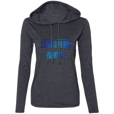 "Bible Verse Ladies' Long Sleeve T-Shirt Hoodie - ""Psalm 61:2"" Design 4 - Meditate Healing Christian Store"
