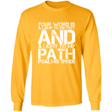 "Bible Verse Long Shirt Ultra Cotton T-Shirt - ""Psalm 119:105"" Design 7 (White Font) - Meditate Healing Christian Store"