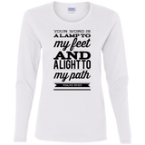"Bible Verse Ladies' Cotton Long Sleeve T-Shirt - ""Psalm 119:105"" Design 15 (Black Font) - Meditate Healing Christian Store"