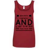 "Bible Verses Ladies' 100% Ringspun Cotton Tank Top - ""Psalm 119:105"" Design 14 (Black Font) - Meditate Healing Christian Store"