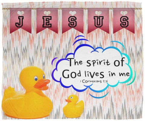 Hope Inspiring Kids Snuggly Blanket - Spirit Of God Lives In Me ~1 Corinthians 3:16~ (Design: Ducks)