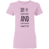 "Bible Verse Ladies' 5.3 oz. T-Shirt - ""Psalm 119:105"" Design 19 (Black Font) - Meditate Healing Christian Store"
