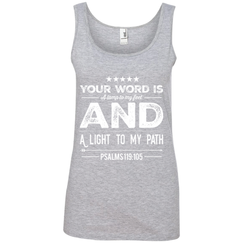 "Bible Verses Ladies' 100% Ringspun Cotton Tank Top - ""Psalm 119:105"" Design 16 (White Font) - Meditate Healing Christian Store"