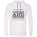 "Bible Verse Men Long Sleeve T-Shirt Hoodie - ""Psalm 119:105"" Design 11 (Black Font) - Meditate Healing Christian Store"