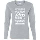 "Bible Verse Ladies' Cotton Long Sleeve T-Shirt - ""Psalm 119:105"" Design 15 (White Font) - Meditate Healing Christian Store"