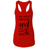 "Bible Verses Ladies Ideal Racerback Tank - ""Psalm 119:105"" Design 18 (Black Font) - Meditate Healing Christian Store"