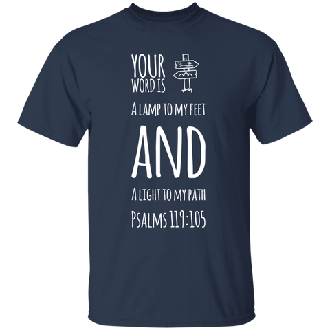 "Bible Verse Men 5.3 oz. T-Shirt - ""Psalm 119:105"" Design 19 (White Font) - Meditate Healing Christian Store"