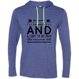 "Bible Verse Men Long Sleeve T-Shirt Hoodie - ""Psalm 119:105"" Design 14 (Black Font) - Meditate Healing Christian Store"