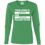 "Bible Verse Ladies' Cotton Long Sleeve T-Shirt - ""Psalm 119:105"" Design 21 (White Font) - Meditate Healing Christian Store"