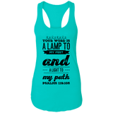 "Bible Verses Ladies Ideal Racerback Tank - ""Psalm 119:105"" Design 17 (Black Font) - Meditate Healing Christian Store"